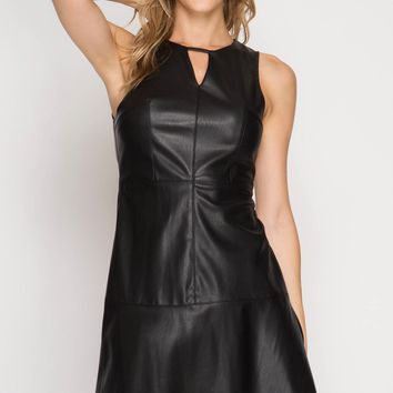 Black Faux Leather Trumpet Dress (final sale)