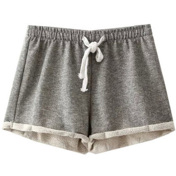 Light Grey Elastic Waist Turned Edge Terry Shorts