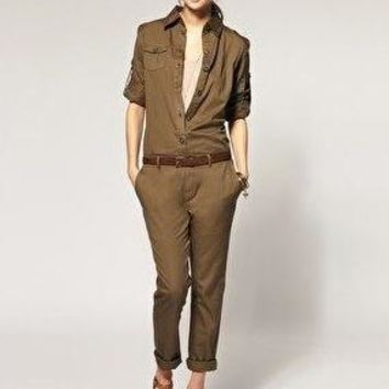 spring summer 2015 new american style vintage plus size rompers cotton casual pocket loose women army military jumpsuits D3558