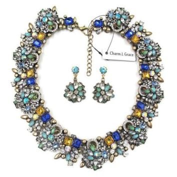 Statement Jewelry Vintage Collar Trendy Choker Bib Fashion Necklace Earrings Set