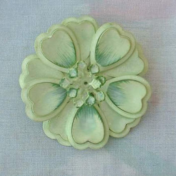 Green Enameled Flower Pin 1960s Floral Vintage Jewelry