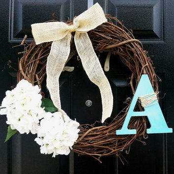 Rustic Elegant Burlap Initial Hydrangea Grapevine Wreath Teal Blue Wood Chic Letter Twine White Fall All Year Burlap Bow