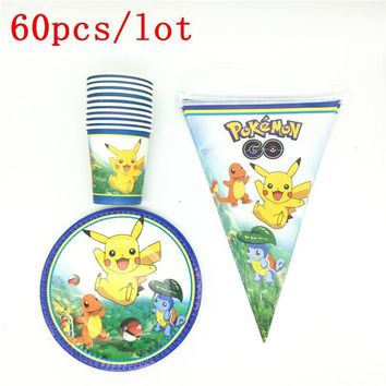 Cartoon  Go Happy Birthday Decoration Boy Girl Paper Plate Party Cups Kids Favors Flags Party Supplies 60Pcs\LotKawaii Pokemon go  AT_89_9