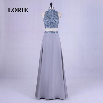 LORIE New Two Piece Prom dress for Graduation High Neck Beading Bling Chiffon Grey Evening Dress Backless Long Girl Party Gown