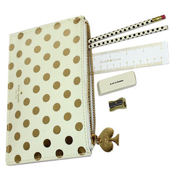 kate spade new york Pencil Pouch Gold Dots