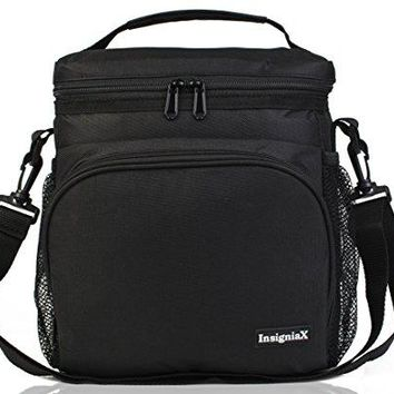 "Insulated Lunch Bag S1: Stylish Lunch Box For Office Men Women Teen Boys Girls With Adjustable Strap Handle Front and Side Pocket H: 10"" x W: 5.1"" x L: 9.2"" (Large, Black)"