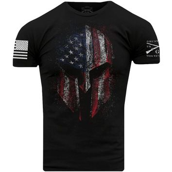 American Fighter USA Flag Skull Distressed Graphic Tees 5XL Grunt Style Dye