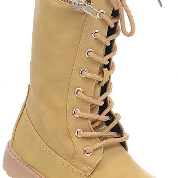 Girls Lace Up Combat Zipper Vegan Boots Toddler Kids