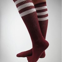 Burgandy with White Athletic Stripe Knee High Socks
