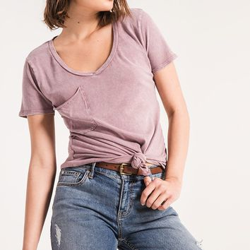 Z Supply The Washed Cotton Pocket Tee -Deep Cola