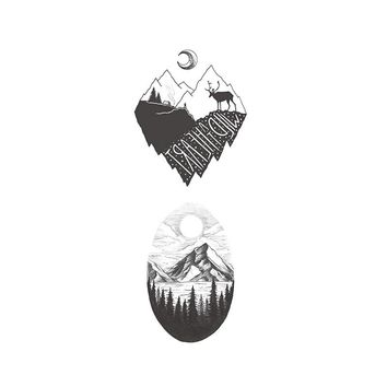 Waterproof Temporary Fake Tattoo Stickers Vintage Grey Mountain Forest Tree Design Make Up Tool