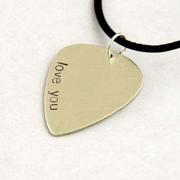 Copy of I Love You Guitar Pick Necklace in Sterling Silver