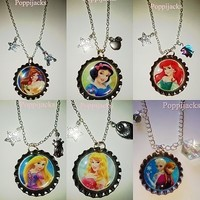 Disney Princess Necklace, Bottle Cap Image,Tangled, Frozen, Belle, Snow White sp