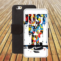 iphone 5 5s case just do it watercolor iphone 4/ 4s iPhone 6 6 Plus iphone 5C Wallet Case,iPhone 5 Case,Cover,Cases colorful pattern L151