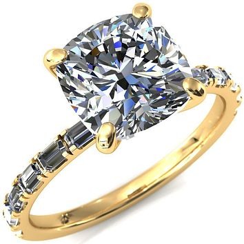 Judie Cushion Moissanite 4 V-Prong 1/2 Micropavé Baguette Diamond Accent Engagement Ring