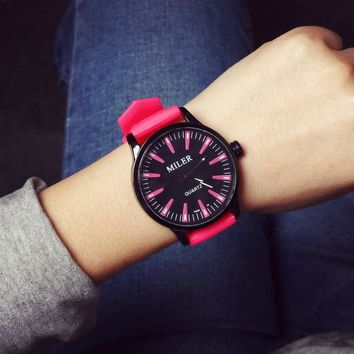 Swiss brand watches ladies rice music MILER hit color jelly table silicone big dial ice cream fight color Korean ladies student