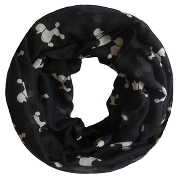 Poodle Dog Animal Pet Print Women's Infinity Loop Scarf Snood Soft Lightweight for All Seasons Gift Accessory, Free Shipping