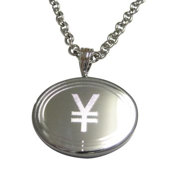 Silver Toned Etched Oval Japanese Yen Currency Sign Pendant Necklace