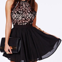 'The Giselle' Black Lace Halter Neck Crossback Skater Dress