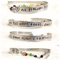 Macklemore Same Love no freedom til were equal damn right I support it hand stamped 1/4 inch aluminum bracelet bangle cuff music custom