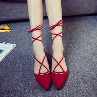 Fashion style Summer Shoes Retro pointed Women Sandals Cross-tied Square