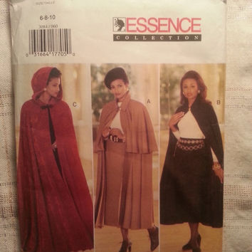 Uncut 1995 Butterick Sewing Pattern, 3084! 6-8-10 Small/Medium/Women's/Misses/Hooded Capes/Long Straight Skirts/Flared Lined Cape/Capelet