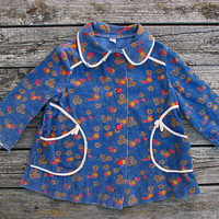 1950's Soviet Baby Dress / Aged Blue Floral Peter Pan Collar Corduroy Jacket, Tunic, Mod Toddler Dress Coat, 1 - 1,5 y.o 1T