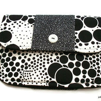 Foam and Bubble Black and White Clutch Charmante