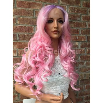 Purple Pink Ombre Mermaid Wig 26""