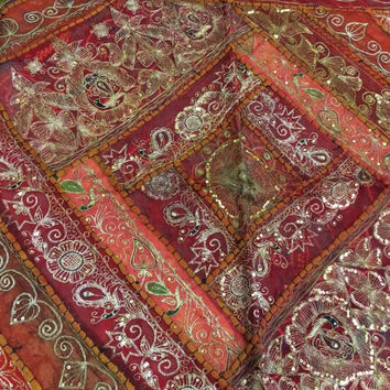 Sari Tapestry Throw Red Maroon Sequin Embroidered Indian Wall Hanging