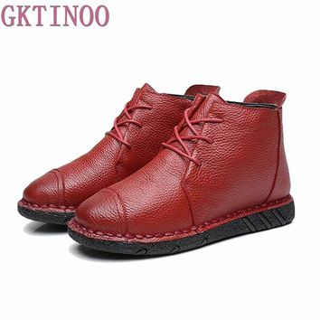 GKTINOO Vintage Style Genuine Leather Women Boots Flat Booties Women's Shoes winter warm plush Ankle Boots