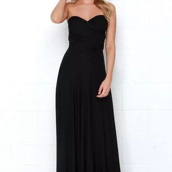 Black Back Bow Pleated Maxi Dress