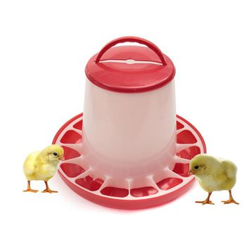 High Quality Useful 3kg Red Plastic Feeder Baby Chicken Chicks Hen Poultry Feeder Lid and Handle 23x26x3.5cm