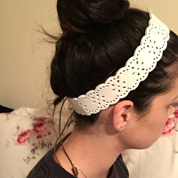Leather Headband, Hippie Headband, Boho Chic, Womens Headband, Hippy Hair, Boho Accessories, Bohemian Style, Country Chic, White Leather,