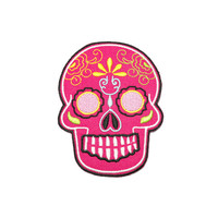 Iron on Patch - Pink Sugar Skull Iron on Patch / Iron on Applique