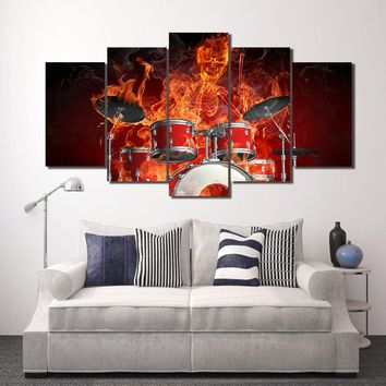 HD Printed 5 piece Canvas Art Flame Skeleton Drummer Skull Drums Fire painting Wall Pictures Decorative Free shipping/ny-1527