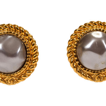 Chanel Gray Faux-Pearl Earrings