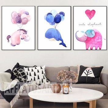 Nursery art / decor - Canvas painting / Poster print - Free Shipping - Cute Watercolor Horse, Whale & Elephant