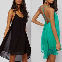 Vogue Fashion Womens Halter Backless Chiffon Beach Club Party Swing Sundress Novelty Mini Dress S M L Black Green = 5657616193