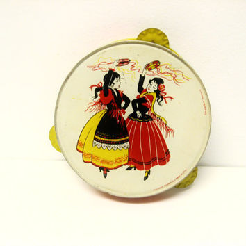 tambourine - gypsy girls dancing - vintage