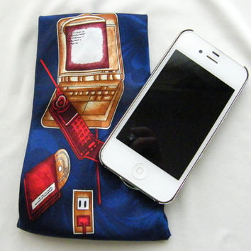Upcycled Tie Mobile Phone Pouch Dust Cover Glasses Case