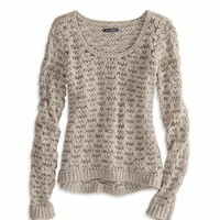 AEO Women's Open Stitch Crew Sweater (Brown Heather)