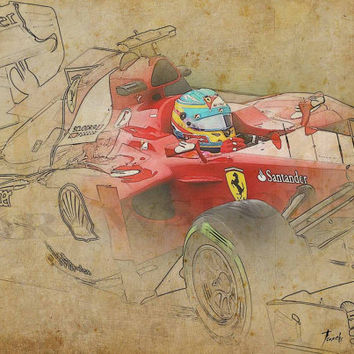 FERRARI F1 - Alonso, Based on my Original Drawing, Art Print 11.5x16in, valentines day
