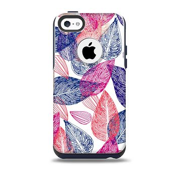 The Seamless Pink & Blue Color Leaves Skin for the iPhone 5c OtterBox Commuter Case