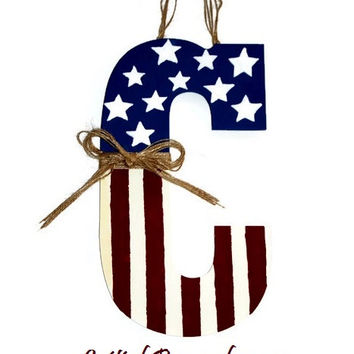 Patriotic American Flag Initial Letter Monogram Door Wreath Hanger Americana Primitive 4th of July Fourth Red white Blue Stars Stripes Prim
