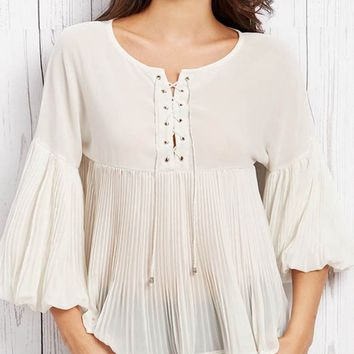 Lace-Up Plain Pleated Bishop Sleeve Blouse