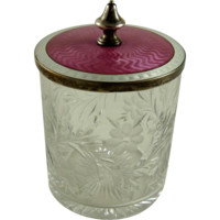 Sterling Guilloche Enamel Cut Glass Condiment Jar Tiffany and Co