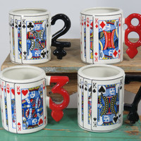 Paul Cardew Playing Card Mugs . Set of 4 . South-West Ceramics Ltd 1990 Made in England . Alice in Wonderland Teacups