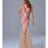 Nina Canacci 7209 Nude & Coral Embellished Mermaid Gown 2015 Prom Dresses