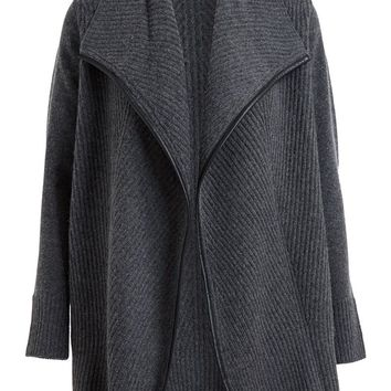 Vince Cashmere Drape Front Leather Trim Cardigan